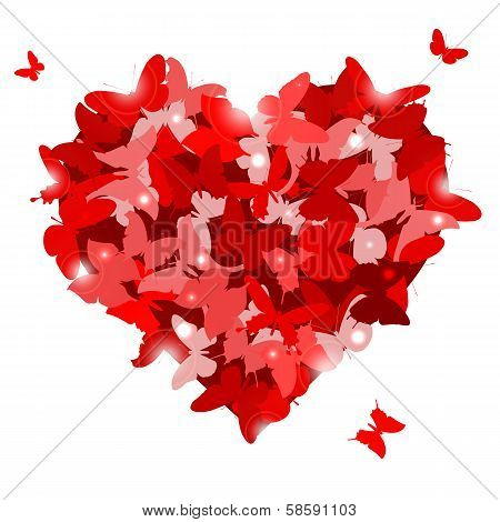 Red heart with butterflies for Valentine's day. Love concept.