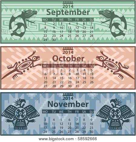 Autumn Calendar 2014 With Mayan Ornaments