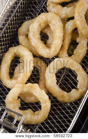 Fried Onion Rings Fresh Out Of A Fryer