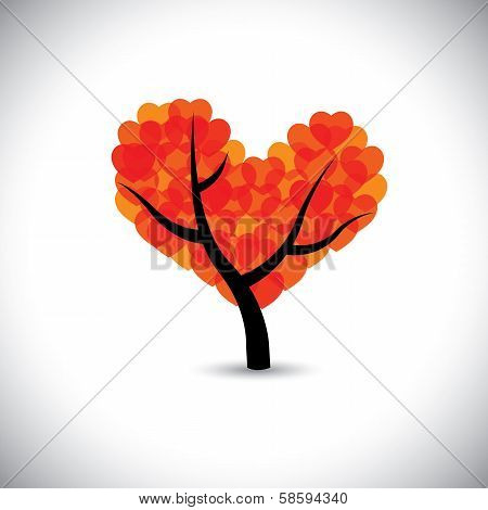Tree With Love Shaped Leaves Forming A Heart Symbol - Vector Graphic