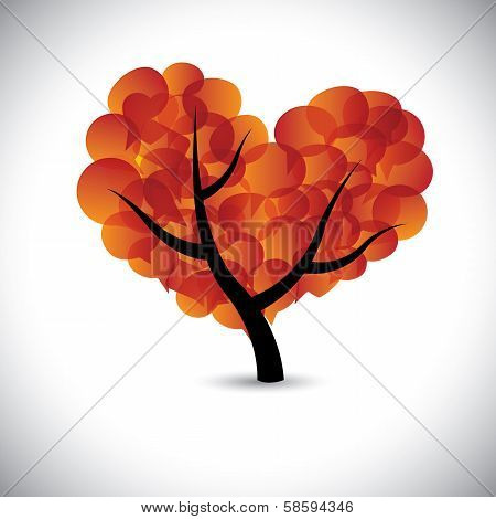 Heart Shaped Love Tree With Speech Bubbles Icons - Vector Graphic