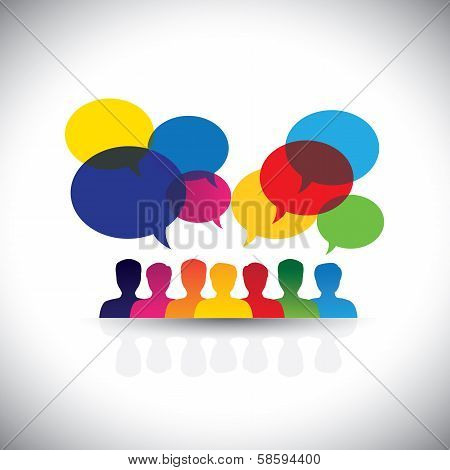 Online People Icons In Social Network & Media - Vector Graphic