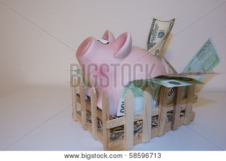 Piggy bank leaving pigpen