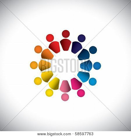 Abstract Colorful People Or Children Icons As Circle- Vector Graphic