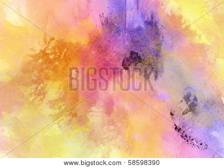 Fantastic Hot Bright Watercolor Background.