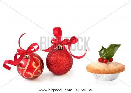 Christmas Baubles And Mince Pie