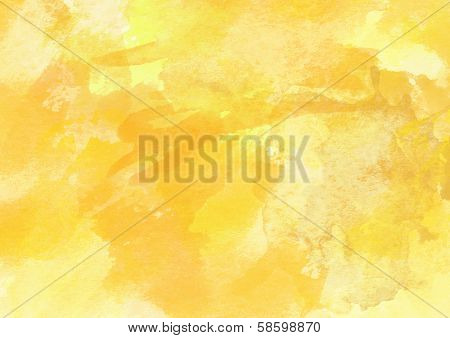 Bright Yellow Watercolor Background.