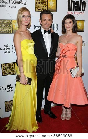 Caitlin Fitzgerald, Michael Sheen and Lizzy Caplan at the 3rd Annual Critics' Choice Television Awards, Beverly Hilton Hotel, Beverly Hills, CA 06-10-13