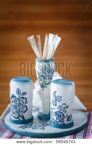 Set With Spices In A Decoupage Style