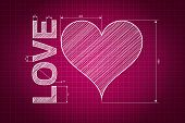 foto of soulmate  - Abstract love heart blueprint pink background with measures scribbled style - JPG