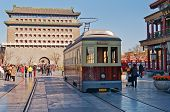 Old Tram In Qianmenl Street In Beijing. China