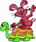 stock photo of the hare tortoise  - a vector image of a turtle and hare - JPG