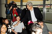 LOS ANGELES - APRIL 10: Sen. John Kerry greeting students on tour of the 31st Congressional District
