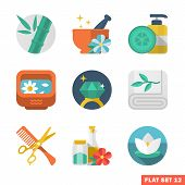 stock photo of sauna woman  - Beauty and Spa Flat vector icon set - JPG