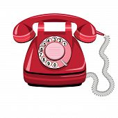 pic of rotary dial telephone  - Telephone icon red vector old rotary dial vintage phone on white background - JPG