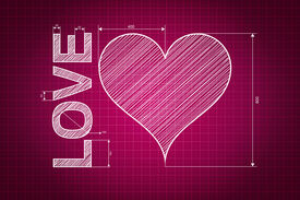 stock photo of soulmate  - Abstract love heart blueprint pink background with measures scribbled style - JPG