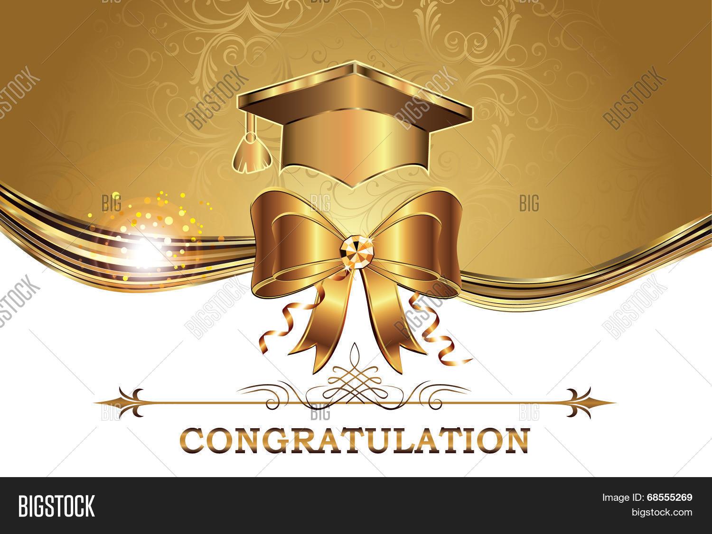 Elegant Golden Graduation Card Vector & Photo | Bigstock