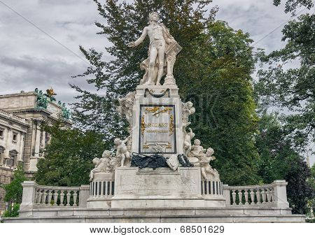 Vienna. Mozart Monument On A Cloudy Autumn Day