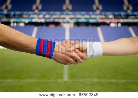 Handshake Of  Between  Barcelona And  Madrid