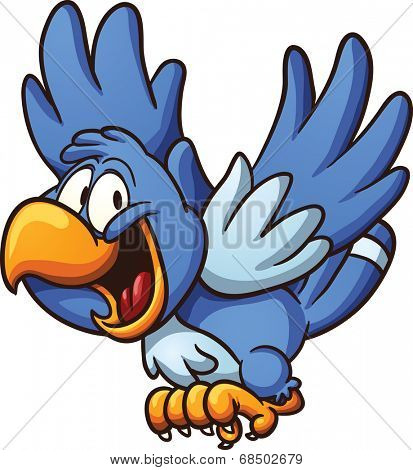 Happy blue bird. Vector clip art illustration with simple gradients. All in a single layer.