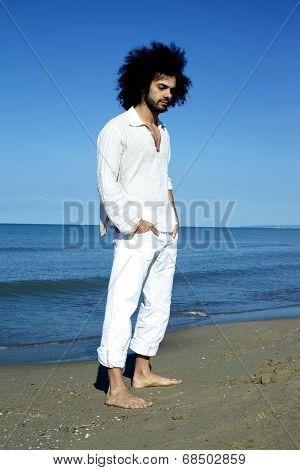 Sad Cool Man Thinking On Beach