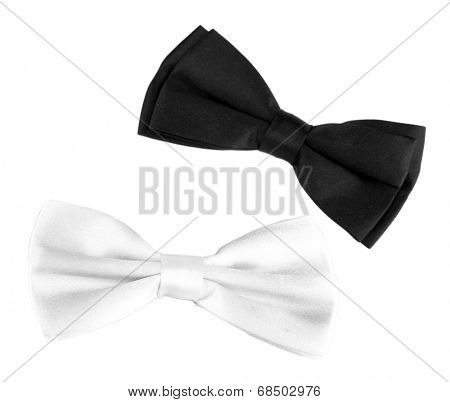 Black and white bow tie isolated on white