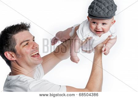 Father Flying Baby With Flat Cap