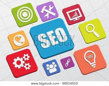 Seo And Internet Signs In Flat Blocks