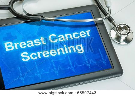 Tablet with the text Breast Cancer Screening on the display