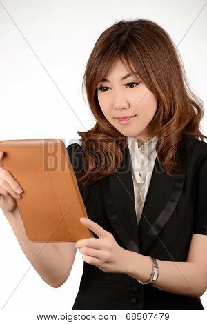 Asian Portrait Of Businessman Looking On Her Tablet
