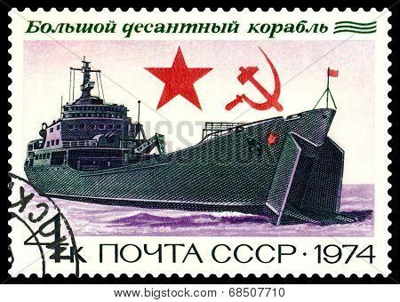 Vintage  Postage Stamp. Landing Craft.