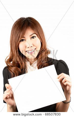 Business Woman Hold White Banner. Young Professional Worker.