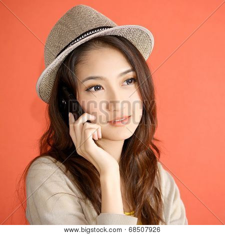 Young Asian Woman Calling Smartphone
