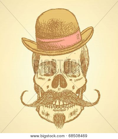 Sketch Scull With Mustache And In Hat