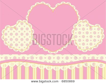 Vector Victorian Background Copy Space with Hearts and Eyelet