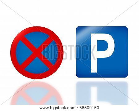 Road Sign No Parking And Parking
