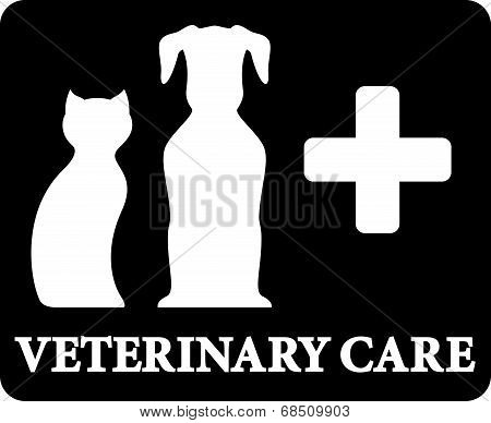 black veterinary care icon with pets and cross