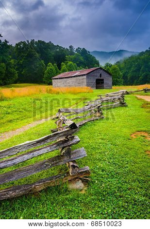 Fence And Barn On A Foggy Morning, At Cade's Cove, Great Smoky Mountains National Park, Tennessee.