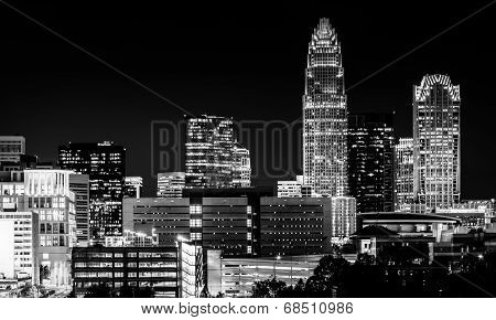 View Of The Charlotte Skyline At Night, North Carolina.