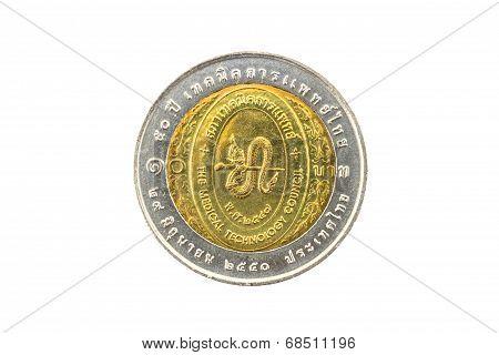 Thailand Ten Baht Coin 2007 50Th Medical Technology Depa