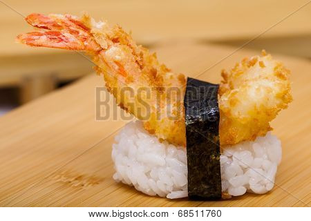 Hot Sushi With Ebi Tempura Shrimp On White Background