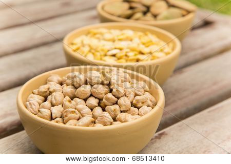 Dried Chick-peas In The Clay Dish