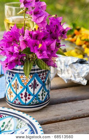 Flowers In The Traditional Tunisian Cup