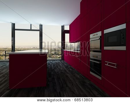 Colorful modern open plan kitchen and dining room with bright magenta cabinets and a stylish modern dining suite in front of panoramic view windows, tilted perspective