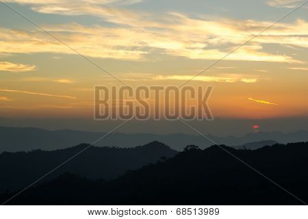 Silhouette Mountain At Thong Pha Phum National Park