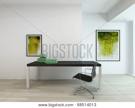 Contemporary minimal interior of an office or a residential study room, with black rectangular table and chair, two abstract paintings in green hues on white walls and beige wooden parquet