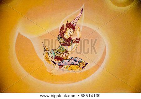 Thai Angel Salute Painting In Wat Rama 9 Bangkok Thailand
