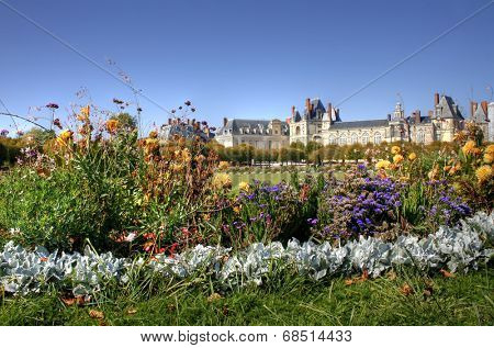 View of the Chateau de Fontainebleau and its huge park, situated close to Paris it introduced the Mannerist style of architecture to France and is the largest royal chateau