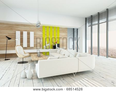 Bright airy living room with rustic decor with wood veneered walls, white painted floorboards, modern white lounge suite and chair , yellow accents, and large floor-to-ceiling windows along one wall