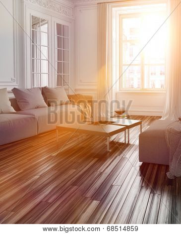 Bright sunlight streaming into a living room interior with a parquet floor and couch through a large window with lens flare effect